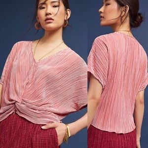 Anthropologie Eri + Ali rose pleated Windward top
